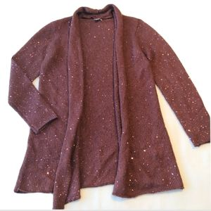J Jill Open drape Cardigan Sweater mohair sequin S